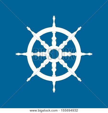 Ship Wheel Isolated on Blue Background, Ship Equipment ,Vector Illustration