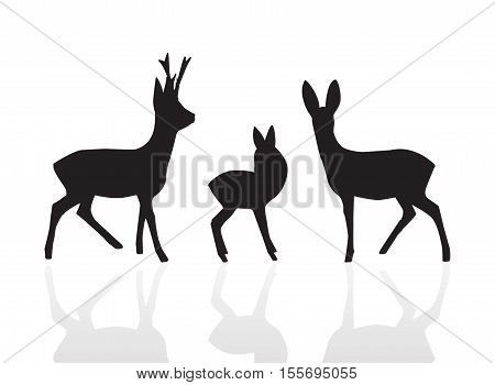 Set silhouette male female and young deer in black color vector