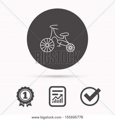 Bike icon. Kids run-bike sign. First bike transport symbol. Report document, winner award and tick. Round circle button with icon. Vector