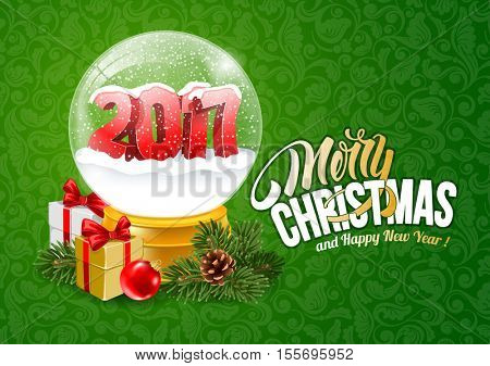 Christmas Greeting with Christmas Snow Globe. Magic Ball With 2017 Digits and Flying Snowflakes. Realistic Vector Stock Illustration.