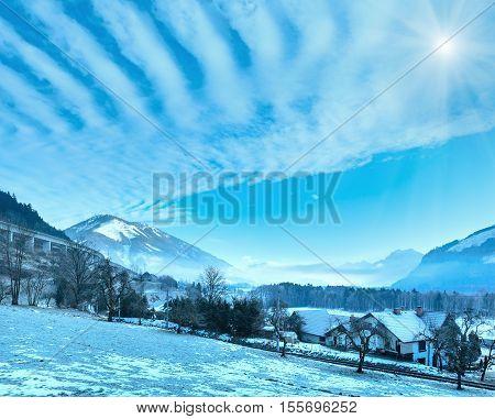 Winter Mountain Sunshiny Village (austria).