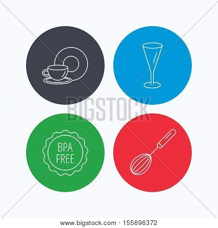 Food and drink, glass and whisk icons. BPA free linear sign. Linear icons on colored buttons. Flat web symbols. Vector