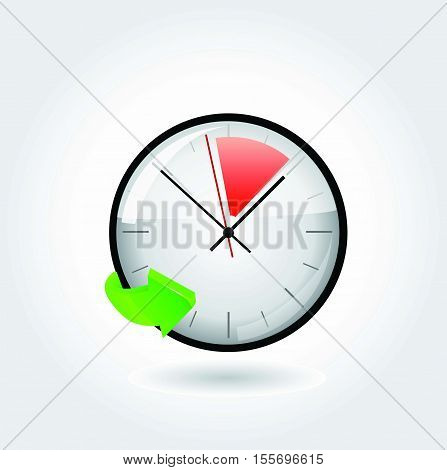 Vector stop watch, realistic illustration on white background.