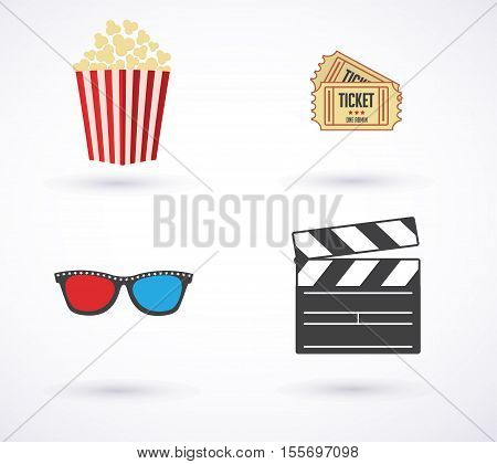 movies icon set with popcorn and 3d glasses. vector illustration