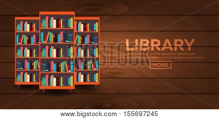Library. Bookcase. Books And Knowledge. Vector Illustration.