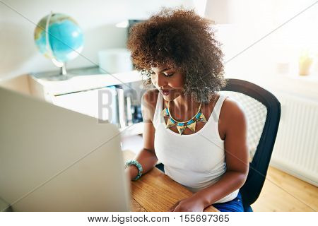 Young African American businesswoman typing in data on a desktop computer as she works from home on her small business high angle view
