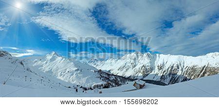 Sunshiny Silvretta Alps Winter View (austria). Panorama.