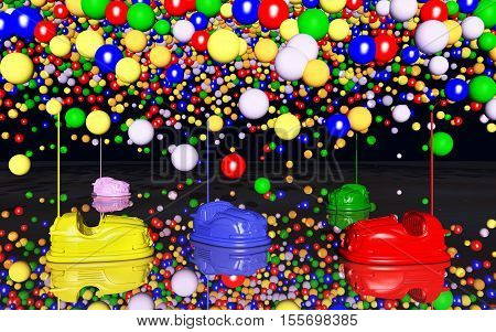 Bumper cars and toy balloons against a black background