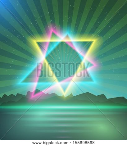 Illustration of Neon Triangle Disco Poster Template 80s Background. Retro Music Abstract Poster Cover 1980s Style Background