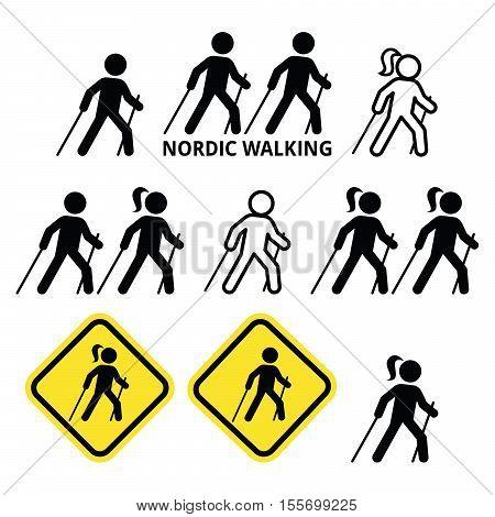 Nordic Walking, people walking outdoors with sticks icons set