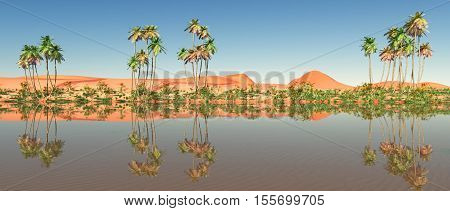 Computer generated 3D illustration with an oasis in the desert