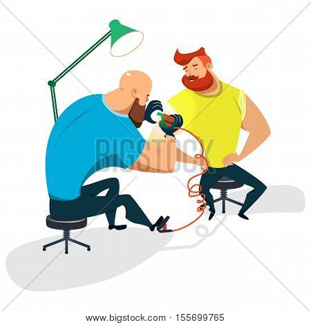 Tattoo master makes a guy a tattoo. Cartoon illustration of a flat design. Vector Image.