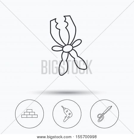 Wall, battery terminals and scissors icons. Drill tool linear sign. Linear icons in circle buttons. Flat web symbols. Vector