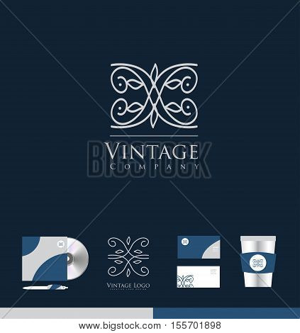 Vintage lineart monogram floral vector logo icon sign design template corporate identity