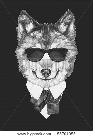 Portrait of Wolf in suit. Hand drawn illustration.