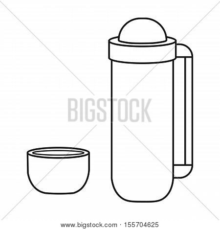 Thermos icon in outline style on white background. Camping symbol stock vector illustration.