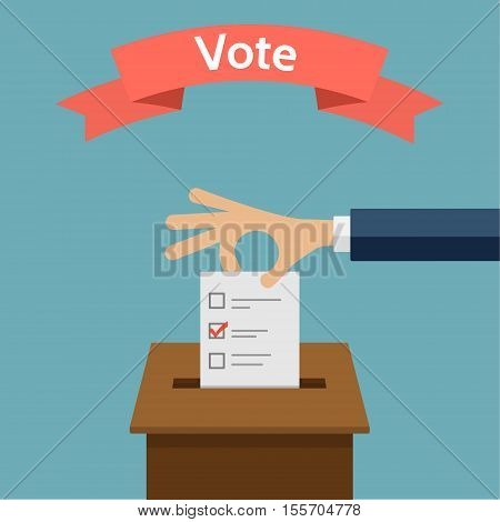 Hand putting voting paper in the ballot box. Elections concept flat style vector illustration on blue background. The red ribbon with the word - Vote.