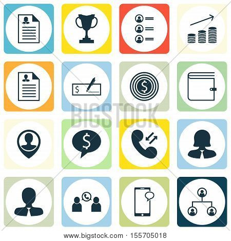Set Of Hr Icons On Business Woman, Female Application And Business Goal Topics. Editable Vector Illu