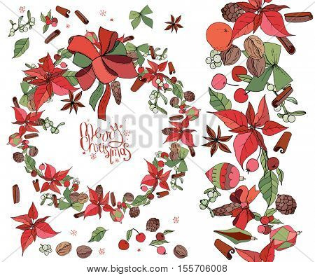 Set with Christmas objects - flowers, spice,fruits and decoration. Wreath, endless garland and isolated objects. Vector, hand drawn.  Merry Christmas calligraphy phrase. Red,green, black and brawn.