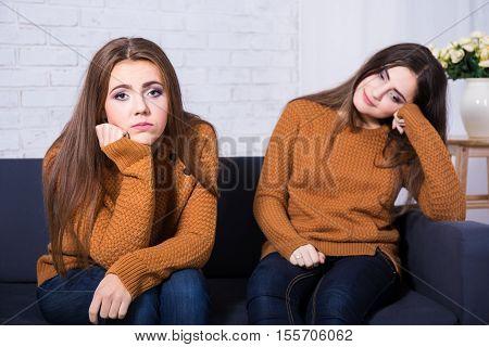 Friendship, Conflict Or Boredom Concept - Sad Girls After Quarrel