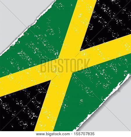 Jamaican grunge flag diagonal background. Vector illustration.