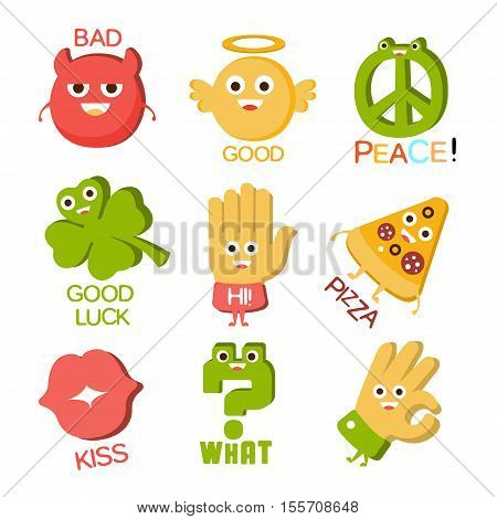 Words And Corresponding Illustrations, Cartoon Character Objects With Eyes Illustrating The Text Emoji Set. Primitive Gestures And Symbols Collection For Messages Emoticon Use Flat Vector Icons.