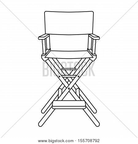 Director's chair icon in outline style isolated on white background. Films and cinema symbol vector illustration.