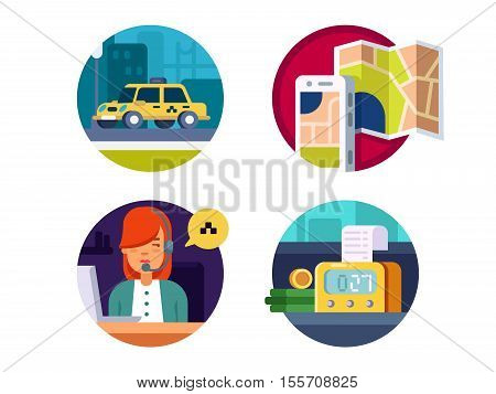 Service taxi, calling machines by operator and payment over counter. Vector illustration