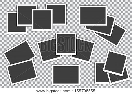 Set of retro photo frame on a transparent background