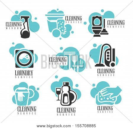 House And Office Cleaning Service Hire Labels Set, Logo Templates For Professional Cleaners Help For The Housekeeping. Different Possible Cleanup Zone Silhouettes On Promotional Vector Stickers In Black And Blue Color.