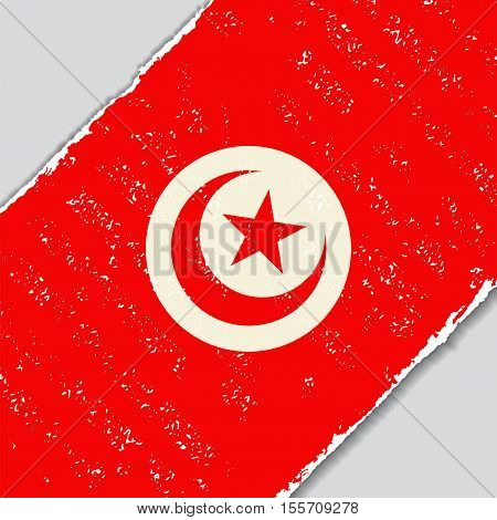 Tunisian grunge flag diagonal background. Vector illustration.