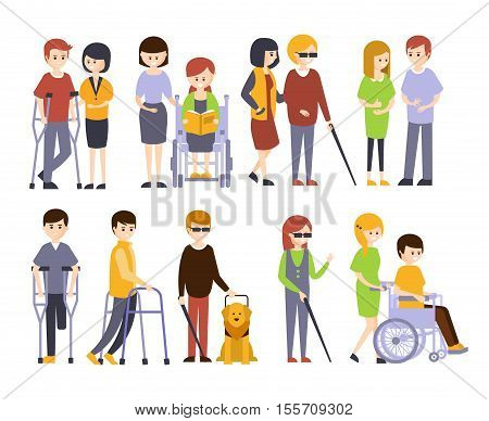 Physically Handicapped People Receiving Help And Support From Their Friends And Family, Enjoying Full Life With Disability Set Of Illustrations With Smiling Disabled Men And Women. Colorful Flat Vector Cartoon Characters With Physical Impairments And In W