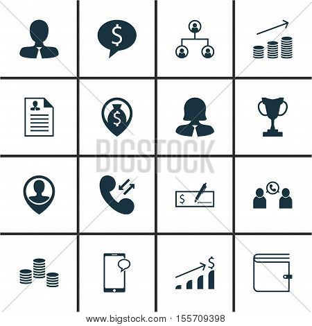Set Of Management Icons On Money, Messaging And Tree Structure Topics. Editable Vector Illustration.