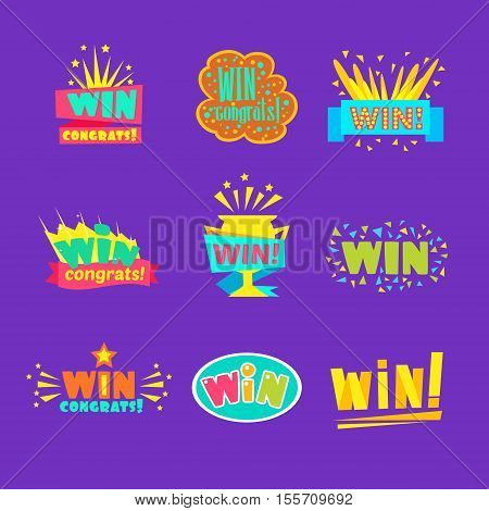 Win Congratulations Stickers Assortment Of Comic Designs For Video Game Winning Finale. Set Of Graphic Flat Vector Messages With Text Saying Win Congrats And Victory Symbols