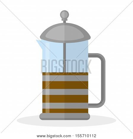 French press icon flat style. French press filter for tea and coffee isolated on white background. Vector illustration