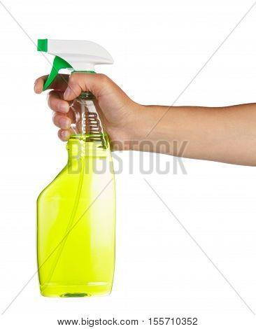 Female hand holding green spray bottle for cleaning isolated on white background.