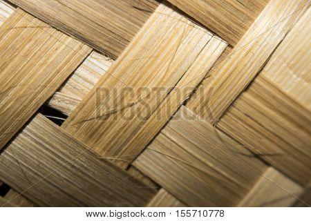 Old Bamboo Weave Mat Texture Close Up Single Focus