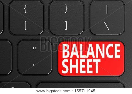 Balance Sheet On Black Keyboard