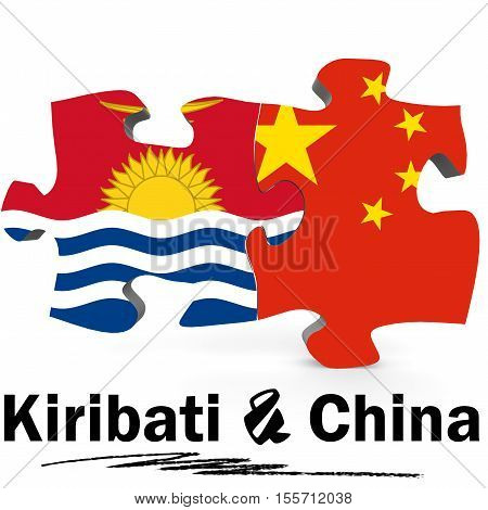China And Kiribati Flags In Puzzle