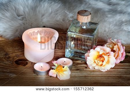 Spa decoration with massage oil for a aromatherapy