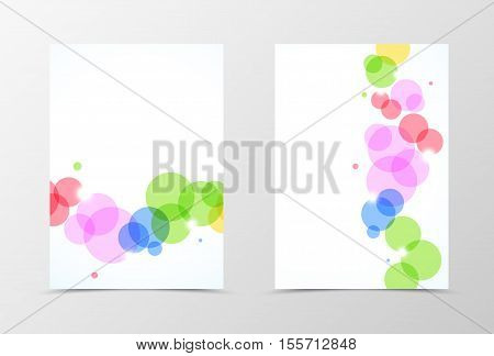 Front and back dynamic flyer template design. Abstract template with colorful transparent circles in geometric style. Vector illustration