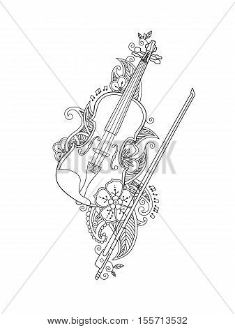 Coloring page - violin and bow with flowers and leafs in floral mehendi doodle style isolated on white background. Antistress coloring book for adult. Floral, nature style. Vector illustration.