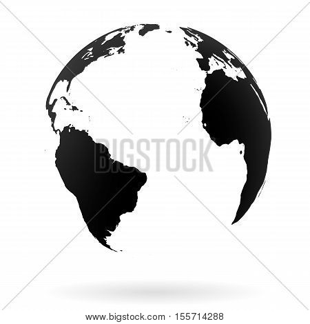 Highly detailed Earth globe symbol, North and South Atlantic ocean. Black on white background.