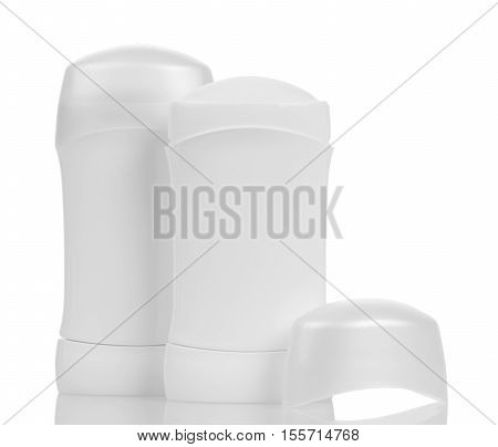 Dry deodorant for armpits isolated on white background.