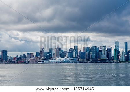 The skyline of Vancouver British Columbia from the North Side