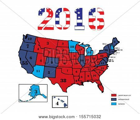 50 United States colored in Republican Red, Democrat Blue and displaying the number of electoral votes for the general Presidential election