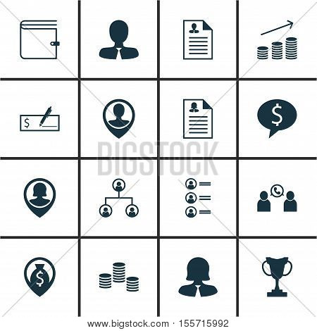 Set Of Hr Icons On Tree Structure, Curriculum Vitae And Female Application Topics. Editable Vector I