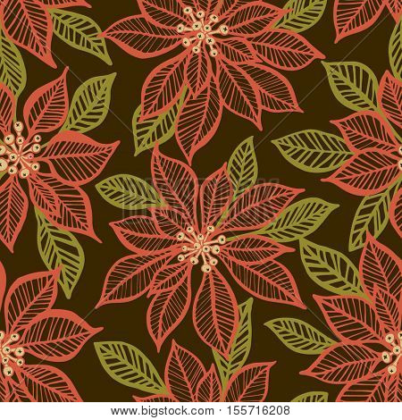 Christmas vector background with poinsettia