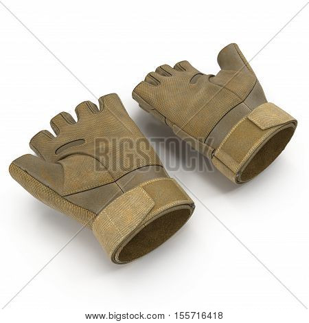 Soldier short finger gloves isolated on white background. 3D illustration