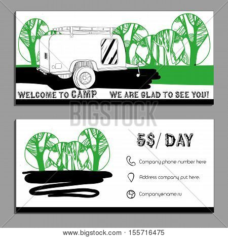 Vector illustration of Bussines card, flyer, leaflet with cars Recreational Vehicles Camper Vans Caravans icon, card template, , invitation Transport for Camp.